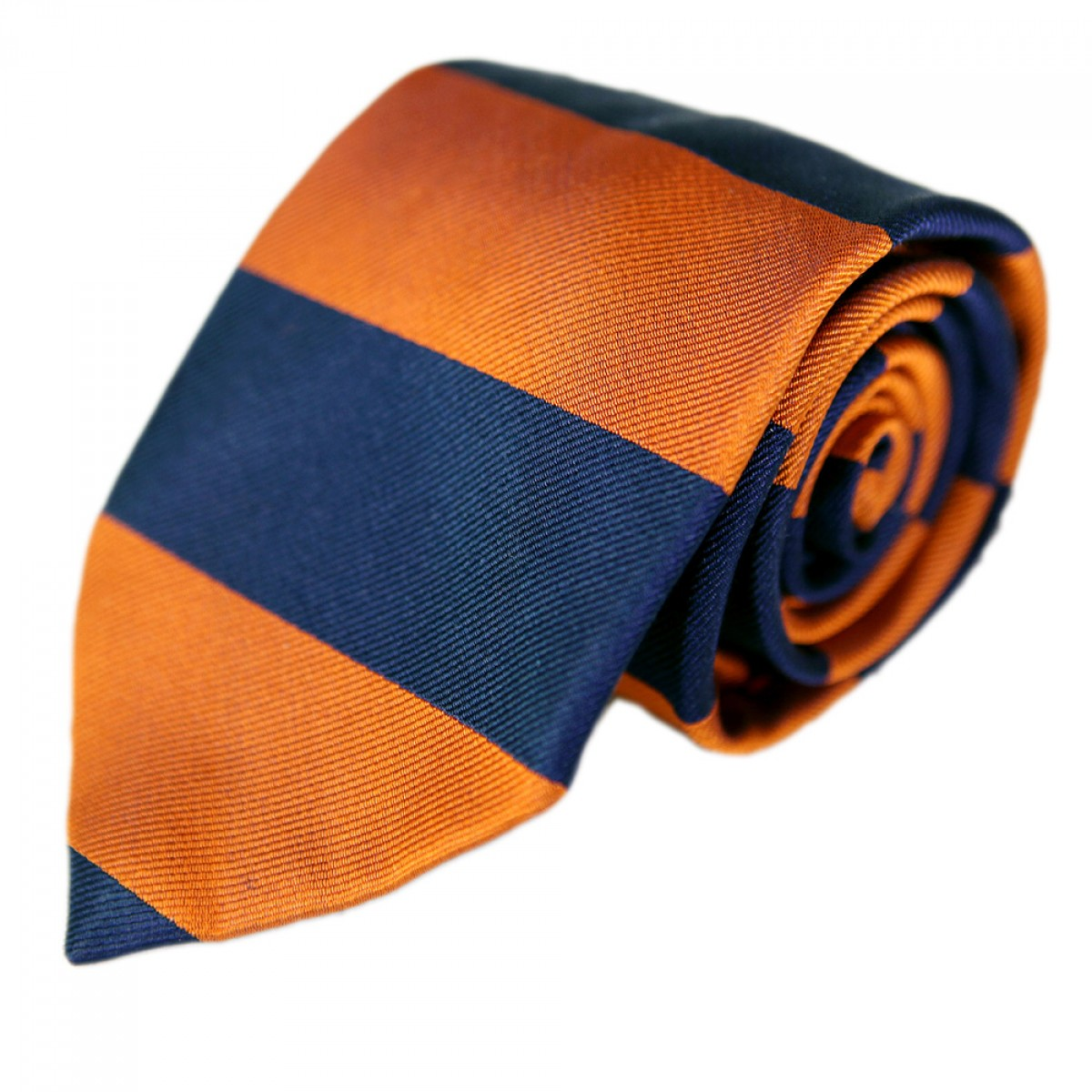 Bar Stripe Gent Tie -Navy & Orange